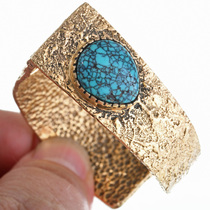 Native American Turquoise Gold Cuff Bracelet 33228