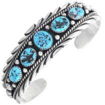 Natural Kingman Turquoise Navajo Cuff Bracelet 33229