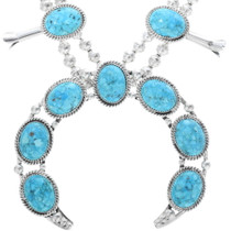 Turquoise Sterling Silver Navajo Necklace Set 28948