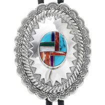 Navajo Turquoise Inlay Bolo Tie 33239