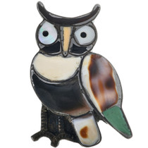 Vintage Zuni Inlaid Owl Brooch 33245