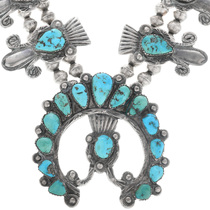 Kingman Turquoise Squash Blossom Necklace Set 33248