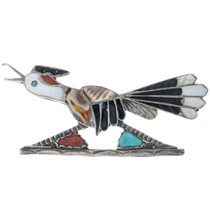 Vintage Zuni Inlaid Roadrunner Brooch Pin 33249