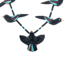 Turquoise Inlay Hand Carved Fetish Necklace 33253