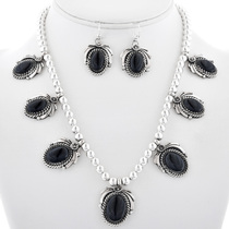 Black Onyx Necklace Earrings Set 27731