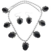 Navajo Onyx Silver Necklace 27731