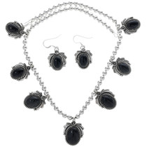 Navajo Onyx Silver Necklace 27731
