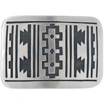 Navajo Overlay Rug Pattern Belt Buckle 33264