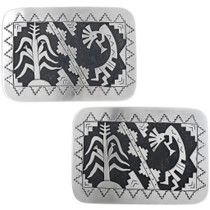 Hand Made Navajo Overlay Buckle Kokopelli Designs 33265
