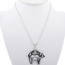 Kachina Overlay Design in Bear Shape Pendant 33268