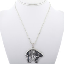 Kachina in Bear Design Sterling Silver Pendant 33270