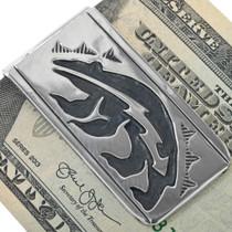Silver Overlay Heartline Bear Design Money Clip 33280