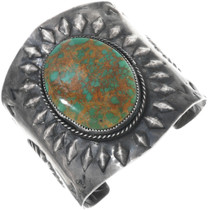 Old Pawn Green Turquoise Navajo Cuff 33281