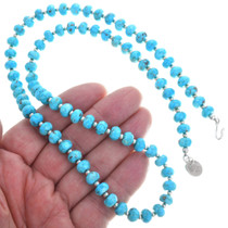 Turquoise Beaded Necklace Sterling Silver Accents 33302