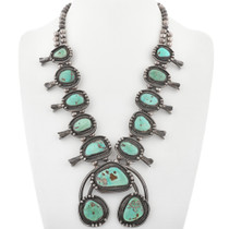 Vintage Turquoise Squash Blossom Necklace 33368