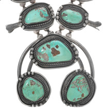 Battle Mountain Turquoise Sterling Silver Navajo Necklace 33368