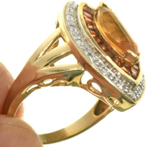 Faceted Citrine Pave Diamond Gold Ring 33383