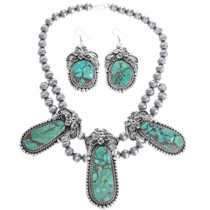 Genuine Turquoise Navajo Necklace Set 33387