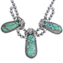 Sterling Silver Turquoise Necklace Earrings Set 33387