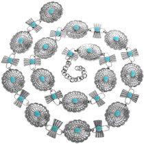 Old Pawn Hammered Silver Turquoise Concho Belt 33388