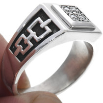 Sterling Silver Diamond Signet Style Ring 33526