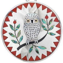 Vintage Zuni Inlaid Owl Pendant Pin 33539