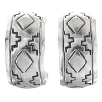 Navajo Sterling Silver Hoop Earrings 33547
