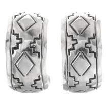 Navajo Sterling Silver Hoop Earrings 33547