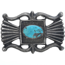Old Pawn Silver Turquoise Belt Buckle 33569