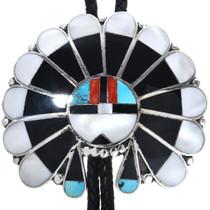 Large Vintage Zuni Sunface Bolo Tie 33589