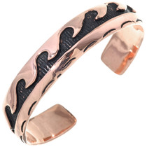 Native American Copper Wave Bracelet Overlaid Cuff 33598