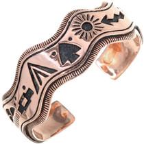Navajo Storyteller Overlaid Copper Cuff Curved Edge Bracelet 33601