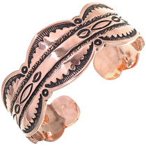 Native American Copper Mens Cuff Heavy Gauge Hammered Bracelet 33602