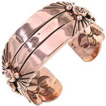 Navajo Copper Starburst Bracelet Heavy Gauge Hammered Cuff 33604