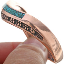 Wavy Copper Turquoise Chip Inlay Bracelet 33607