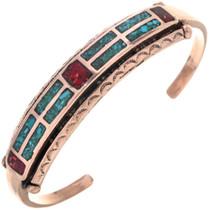 Copper Turquoise Coral Navajo Bracelet 33608
