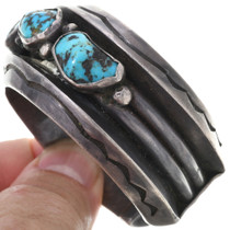 Heavy Gauge Sterling Kingman Turquoise Nugget Cuff 33618
