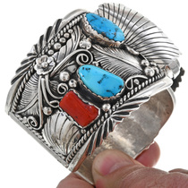 Turquoise Coral Watch Heavy Gauge Cuff 33624