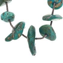 Kingman Turquoise Necklace Nuggets With Silver Tube Spacers 33625