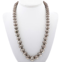 Old Pawn Desert Pearl Necklace Hammered Silver Graduated Beads 33629