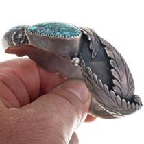 Bisbee Turquoise Silver Cuff Handmade Leaves Flowers Ladies Bracelet 33630