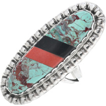 Inlaid Green Turquoise Navajo Ladies Ring 33634