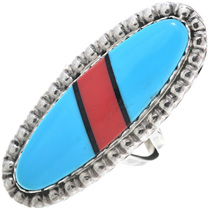Inlaid Blue Turquoise Navajo Ladies Ring 33635
