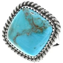 Navajo Turquoise Single Stone Silver Ladies Ring 33636