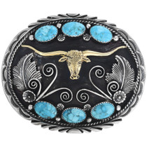 Navajo Texas Longhorn Gold Silver Belt Buckle With Blue Turquoise 33643