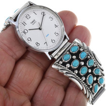 Sleeping Beauty Turquoise Cluster Mens Watch Tips 33646