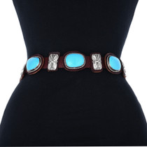 Sterling Silver Turquoise Western Concho Belt 33662