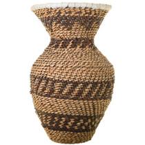 Leather Rim Apache Hand Woven Basket 33683