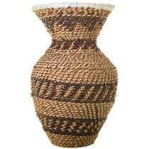 Leather Rim Apache Hand Woven Basket 33683
