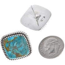 Native American Sterling Silver Turquoise Earrings 33687